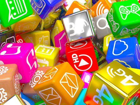 mobile technology: mobile app icons background. 3d Stock Photo