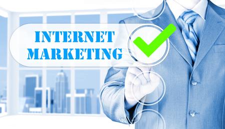 business man pressing checkbox  internet marketing Stock Photo