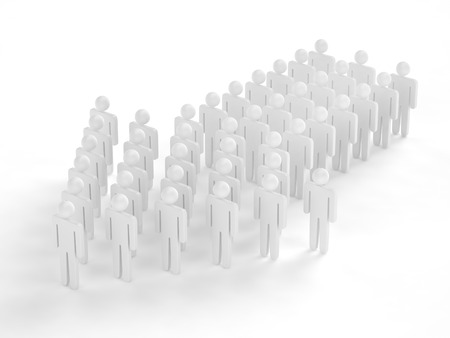 follow the leader: Many 3d people figure in arrow shape with the leader in front Stock Photo