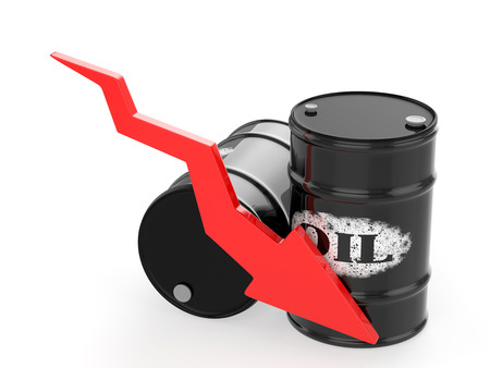 crude oil: Oil Barrels with Red Arrow down. Financial crisis Stock Photo