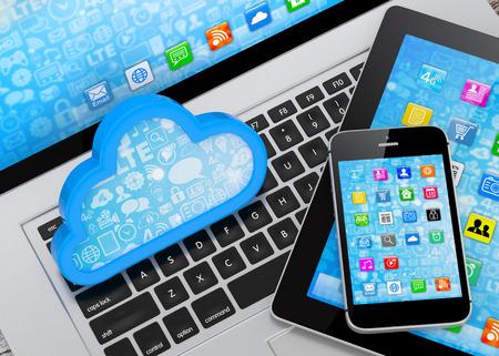 laptop, tablet pc, smart phone and cloud Фото со стока