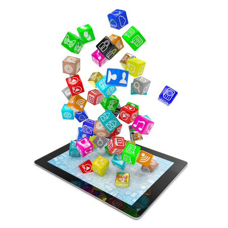 mobile internet: icon app fall in tablet pc
