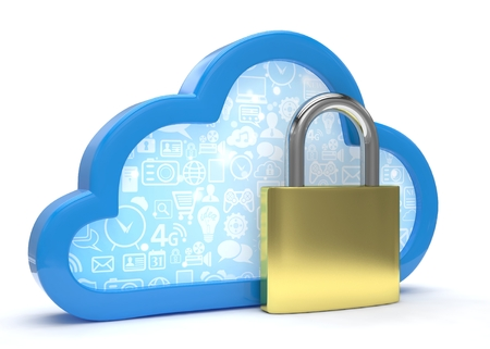 cloud: Cloud computing, security concept on white