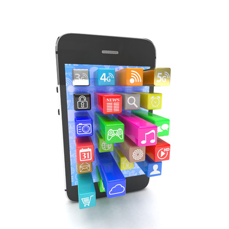 mobile internet: application software icons extruding from smartphone, isolated on white