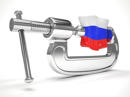 sanction: Russias flag in clamp, crisis, sanction concept Stock Photo