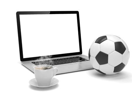 pelota de futbol: ordenador portátil y una pelota de fútbol soccer. en la línea concepto de apuestas de fútbol.