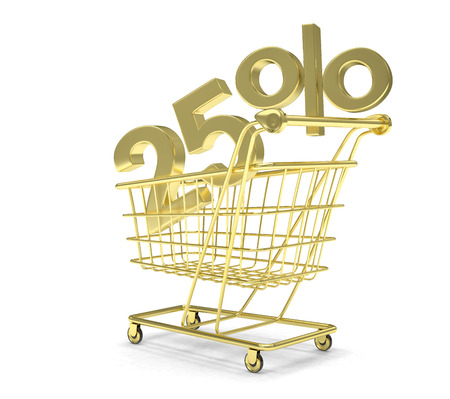25: discount 25%, shopping cart on white background. Stock Photo