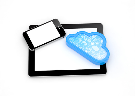 pc: tablet pc, smart phone and cloud Stock Photo