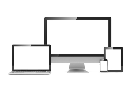 screen tv: laptop, smartphone, tablet and computer display Stock Photo