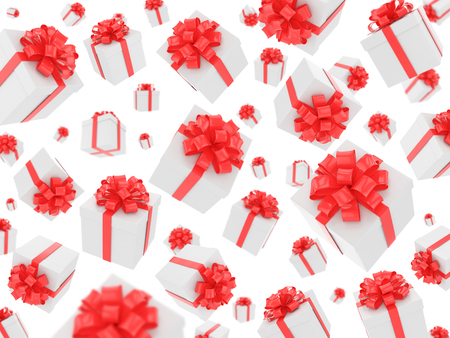 fall down: a lot of gift boxes fall down background Stock Photo