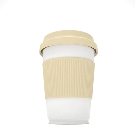 to go cup: Coffee to go cup on white background Stock Photo