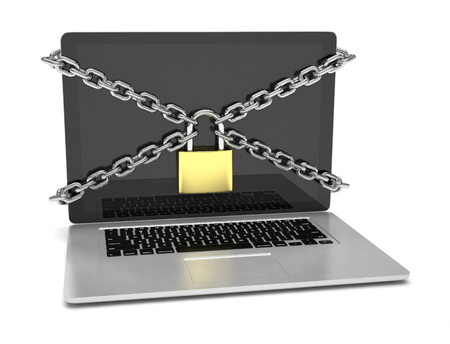 locked: 3d illustration computer security. laptop locked with chains and padlock