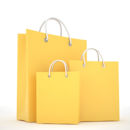 Paper Shopping Bags isolated on white background Imagens