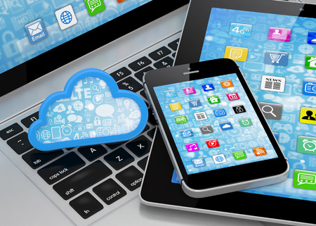 cloud network: laptop, tablet pc, smart phone and cloud Stock Photo