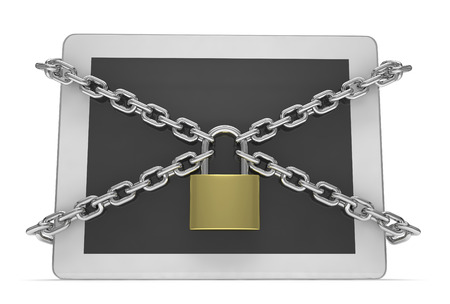 lock: tablet PC with chains and lock isolated on white background