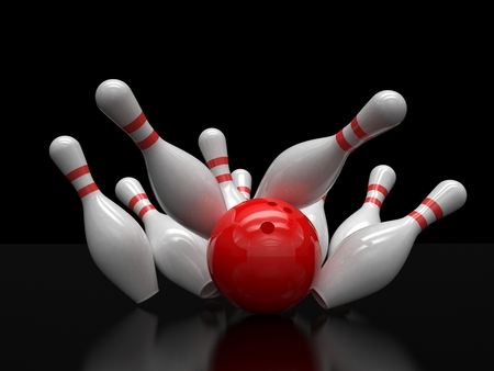 strike: Bowling ball and skittles isolated