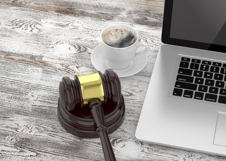auction gavel: Gavel, laptop and coffee Stock Photo