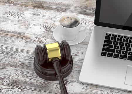 Gavel, laptop and coffee Standard-Bild