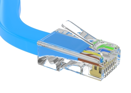 rj 45: wire rj-45 on a white background, isolated Stock Photo