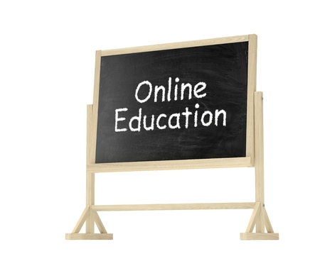 lecture room: Online education concept. Blackboard, chalkboard isolated on white