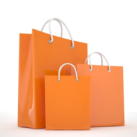 white paper bag: Paper Shopping Bags isolated on white background Stock Photo