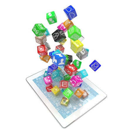 mobile internet: icon apps fall in tablet pc Stock Photo