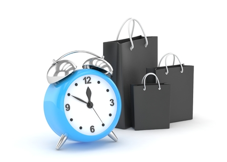 buy time: alarm clock and shopping bags (time to buy concept)