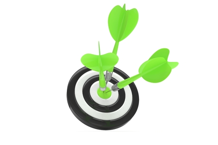 business performance: Three arrows darts in center. Stock Photo