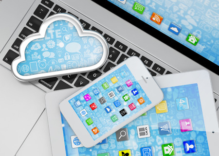pc: laptop, tablet pc, smart phone and cloud Stock Photo