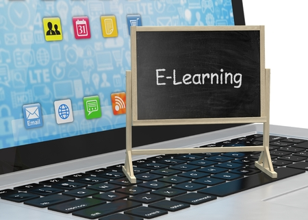 learning computer: Laptop with chalkboard, e-learning, online education concept