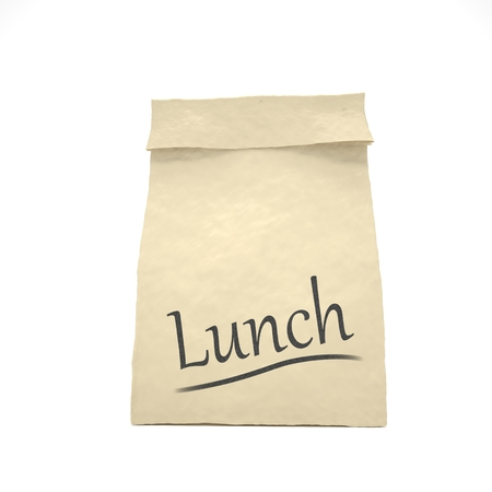 bagged: Lunch bag on white Stock Photo