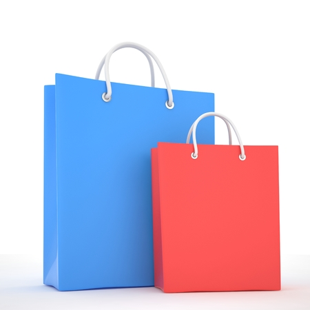 shoping bag: Paper Shopping Bags isolated on white background Stock Photo