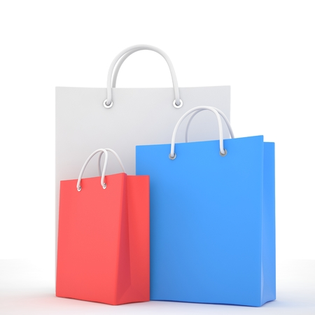 shoping: Paper Shopping Bags isolated on white background Stock Photo
