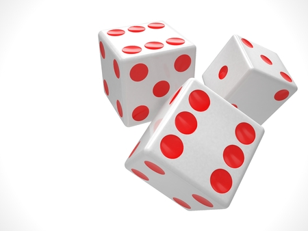 dice: three dices on white background