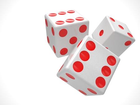 dados: tres dados en el fondo blanco