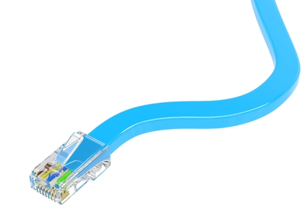 rj45: wire rj-45 on a white background, isolated Stock Photo