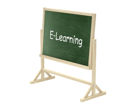 lecture room: blackboard, chalkboard isolated on white, e-leraning concept Stock Photo