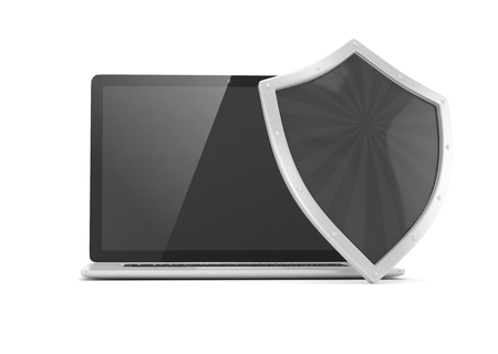 safe world: Laptop and shield on white, computer security concept