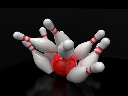 fun background: Bowling ball and skittles isolated
