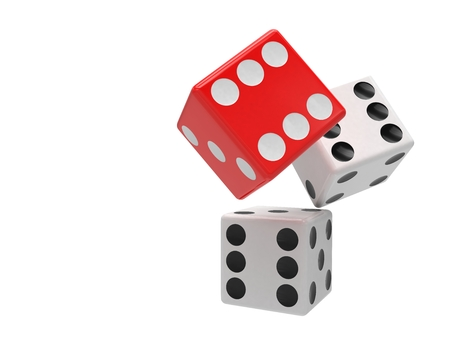 dices: three dices on white background