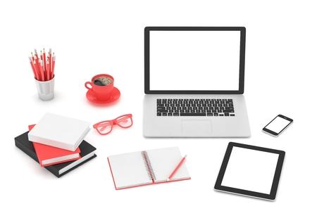 hp: Responsive mockup screens. Laptop, tablet, phone on table