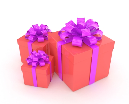 three gift boxes: three gift boxes with bows isolated on white