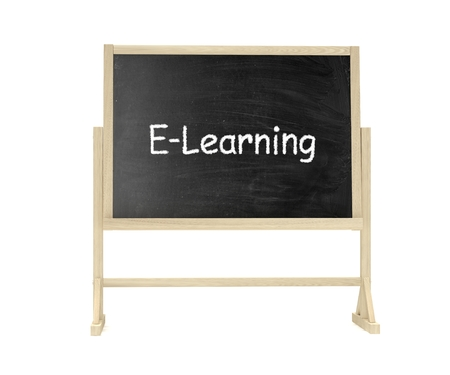 lecture room: blackboard, chalkboard isolated on white, e-learning concept Stock Photo
