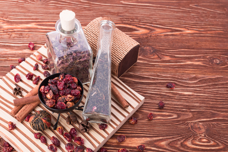 rose hip tea on wooden