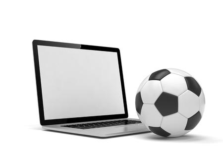 Laptop und Fußball.