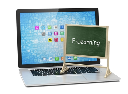 learning concept: Laptop with chalkboard, e-learning, online education concept