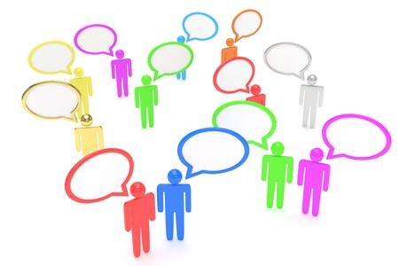 mensen met praten bubbels geïsoleerd op een witte achtergrond Stockfoto