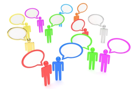 talking cartoon: people with talk bubbles isolated over a white background Stock Photo