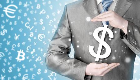 savings and loan crisis: businessman protecting dollar symbol Stock Photo