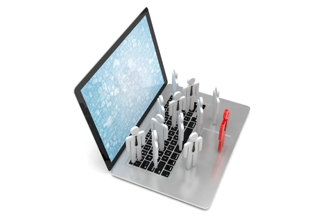 small group of objects: group of people figures on laptop, 3d render